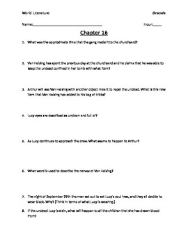 Dracula Chapters 16-20 Reading Questions  with Answer Key