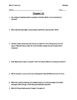 Dracula Chapters 21-27 Reading Questions  with Answer Key