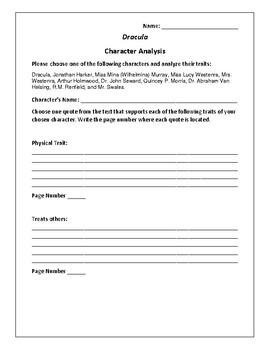Dracula Character Analysis Activity - Bram Stoker