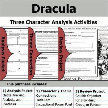 Dracula - Character Analysis Packet, Theme Connections, & Project