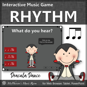 Fall Music Game: 1 Eighth/2 Sixteenth Notes Interactive Rhythm Game {Dracula}