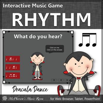 Fall Music Game: 2 Sixteenths/1 Eighth Note Interactive Rhythm Game {Dracula}