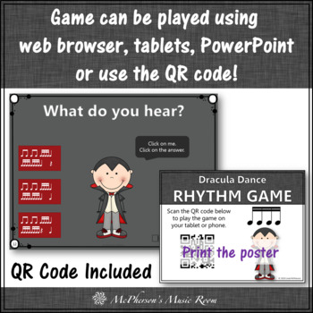 Fall Music Game: Sixteenth Notes Interactive Rhythm Game {Dracula}