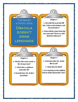 Bailey School Kids DRACULA DOESN'T DRINK LEMONADE - Discussion Cards