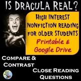 Dracula Reading Comprehension Passage and Questions Print