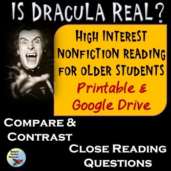 Dracula Close Reading Passage and Reading Response Questions