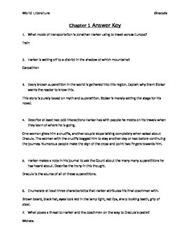 Dracula Novel Reading Questions with Answer Key
