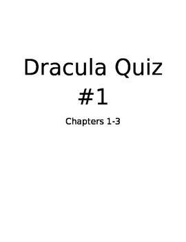 Dracula Quiz #1
