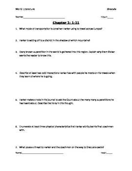 dracula chapters 1 5 reading questions with answer key by johnny s rh teacherspayteachers com dracula study guide questions and answers chapters 5-6 dracula study guide questions and answers chapters 1-2