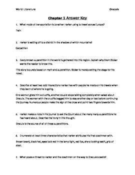 Dracula Chapters  1-5 Reading Questions with Answer Key