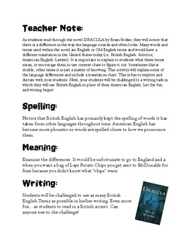 Dracula Unit: Creative Writing: Learning/Using British & Old English in Writing