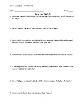 Dracula Untold Video Guide (with Answer Key)