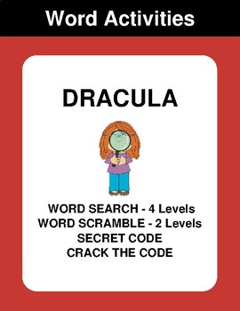 Dracula - Word Search Puzzles, Scramble,  Secret Code,  Crack the Code