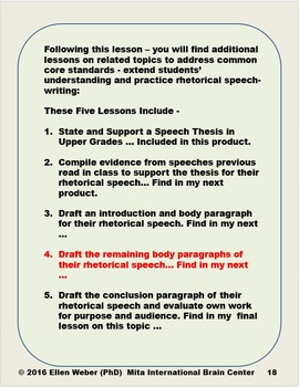 Draft Body Paragraphs for a Rhetorical Speech - CCSS Aligned
