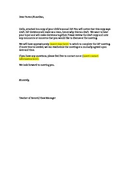 Draft IEP Cover Letter