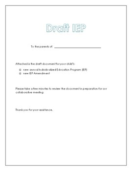draft iep cover letter for parents by the teacher place tpt