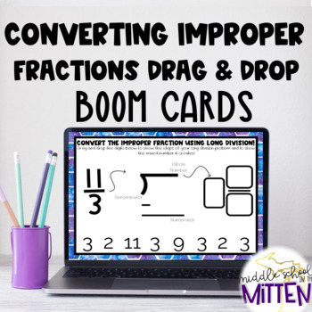 Drag and Drop: Convert Improper Fractions to Mixed Numbers Boom Cards