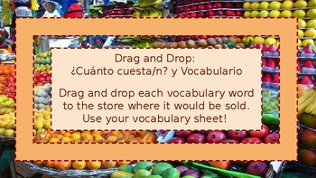 Drag and Drop: ¿Cuánto cuesta/n? y Vocabulario