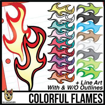 Dragon Colors, Shapes, and Flames Clipart Bundle