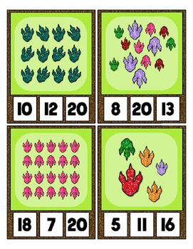 Dragon / Dinosaur Foot Prints Counting 0 to 20 Clip Card Math Center
