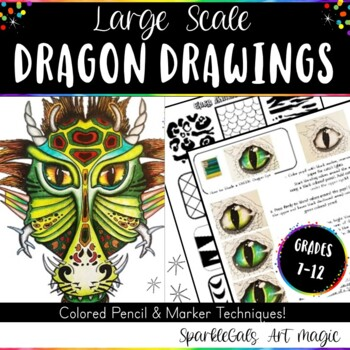 Dragon Drawings!  Colored Pencil Value Drawings with Marker Techniques