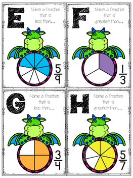 Dragon Fractions:  Greater Than, Less Than Roam the Room Task Cards