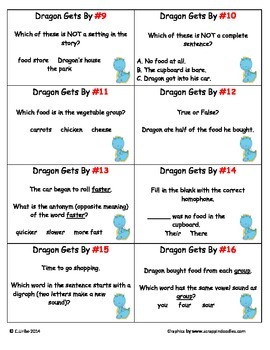 Dragon Gets By ~ Scoot Game ~ Language Arts and Reading ~ Task Cards