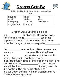 Dragon Gets By- Vocabulary~Fill in the Blank~ Story