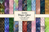 Dragon Glitter digital paper, seamless dragon scale patterns