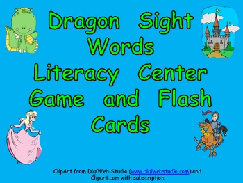 Dragon Literacy Center Game- 1st 50 Fry Sight Words Kindergarten-1st