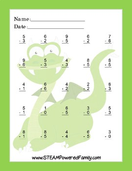 Dragon Math - Subtraction Practice Worksheets