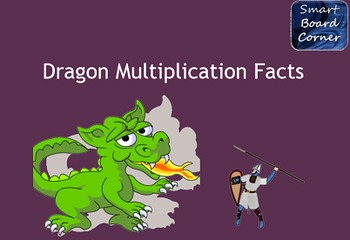 Dragon Multiplication Facts SMART Board Matching Game