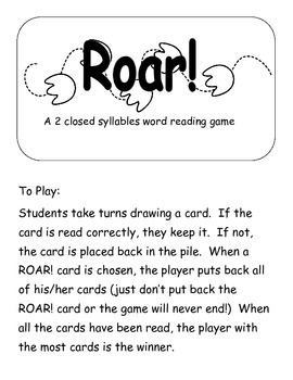 Dragon Roar! A 2 closed syllable word game  Printer Friendly version