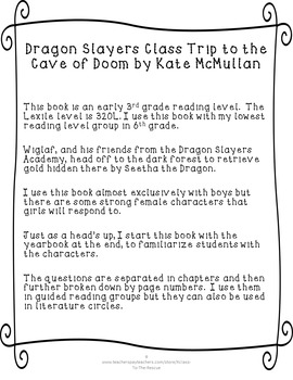 Dragon Slayers Academy Class Trip to the Cave of Doom Discussion Questions