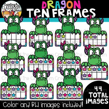 Dragon Ten Frames Clipart {Dragon Clipart}