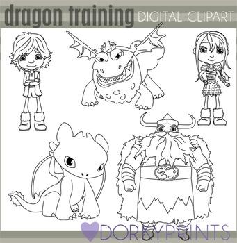 Dragon Training Black Line Clip Art