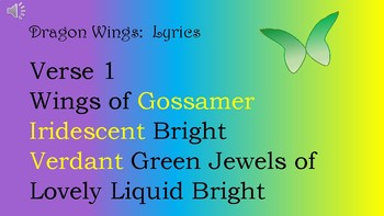 Dragon Wings:  An Original Song for Orff Instruments and Voice