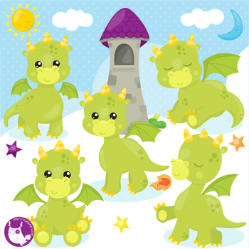 Dragon clipart commercial use, vector graphics  - CL1122