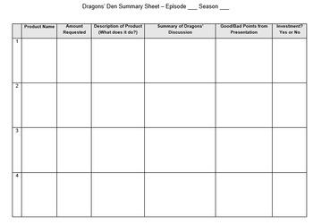 Dragons' Den or Shark Tank Summary Sheet