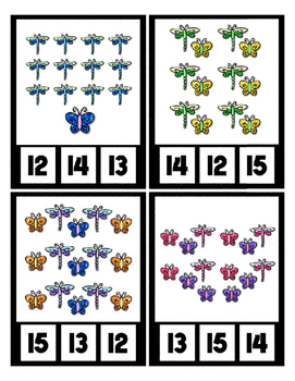 DragonFlies & ButterFlies Counting to 20 Clip Card Math Center Preschool Glitter