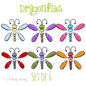 Dragonflies - Set of 6, dragonfly clip art, Printable Tracey Gurley Designs