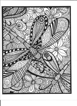 Dragonflies and Flowers Coloring Page