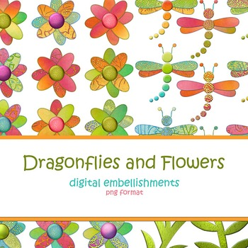 Dragonflies and Flowers Digital Embellishments