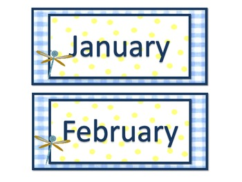 Dragonflies and Polka Dots Calendar Set with Name Plates and Classroom Lables