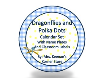 Dragonflies and Polka Dots Calendar Set with Name Plates a