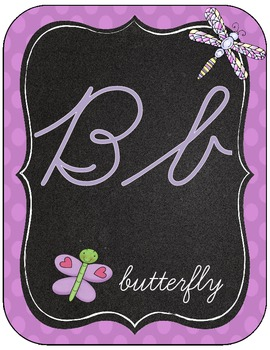 Dragonfly Decor--Alphabet, Word Wall, Table Numbers {Cursive Style}