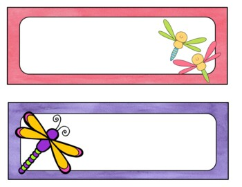 Dragonfly Desk Name Tags...Editable