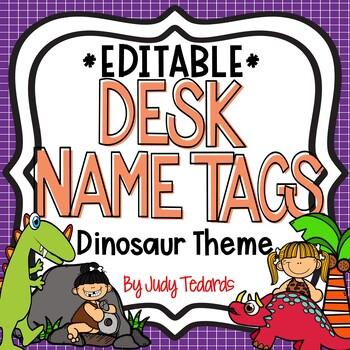 Dinosaur Desk Name Tags...Editable