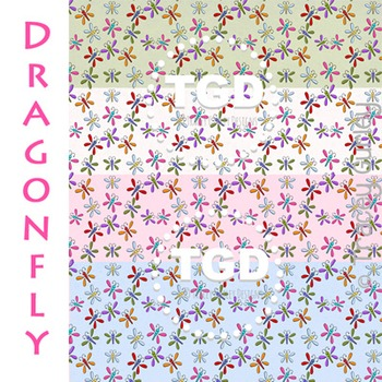 Dragonfly on 4 textured papers digital paper Printable Tracey Gurley