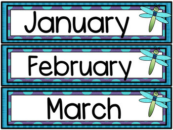 Dragonfly Theme Classroom Calendar & Weather Cards